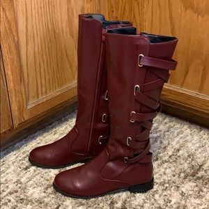 LACE UP RIDDING BOOTS, US 9/10, Wine/Dark Red